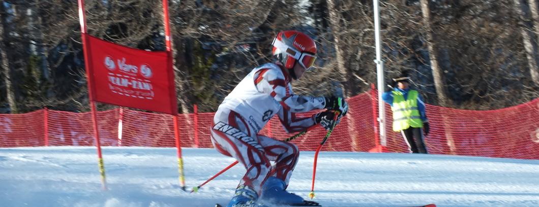 Coureurs en action en slalom géant